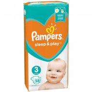 Подгузники Pampers Sleep & Play Размер 3 (Midi), 6-10 кг, 58 шт.