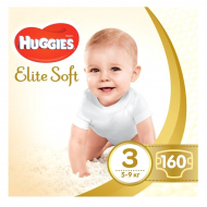 Подгузники Huggies Elite Soft, 3, 5-9 кг, 160 шт.