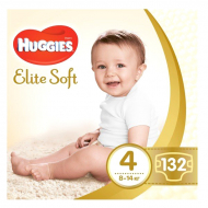 Подгузники Huggies Elite Soft, 4, 8-14 кг, 132 шт.