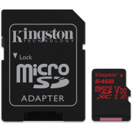 Карта памяти Kingston microSDXC 64GB Class 10 UHS-I U3 + SD-adapter