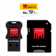 Карта памяти Strontium 64GB Nitro microSDHC 566x Uhs-1 Card With OTG and USB Reader
