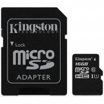 Карта памяти Kingston microSDHC 16GB Class 10 UHS-I R80MB/s + SD-адаптер