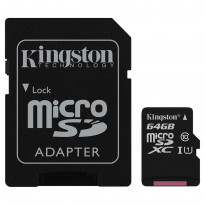 Карта памяти Kingston microSDXC 64GB Class 10 UHS-I R80MB/s + SD-адаптер