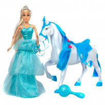 Фигурка One Two Fun My Princess with horse 889345, голубая