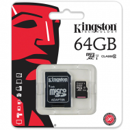 Карта пам'яті Kingston microSDXC 64GB Class 10 UHS-I R80MB / s + SD-адаптер