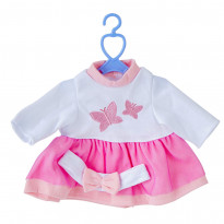 Одяг для пупсів One Two Fun My baby`s Pretty Outfit, рожево-біла сукня з метеликом