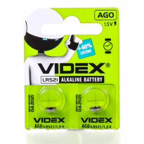 Батарейки щелочные Videx AG0, 10 pcs, 2 шт/уп (LR521)