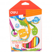 Фломастери Deli Color Emotions Bumpees, 12 кольорів, 2 мм